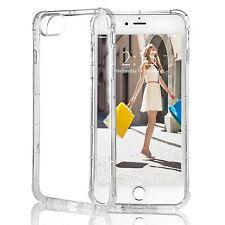 iPhone X 6 6s case Slim Clear Hard PC Back TPU bumper + Glass Screen Protector