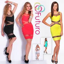 Party Sleeveless Bodycon Mesh Stripes Clubwear Mini Dress Tunic Size 8-14 FC1456
