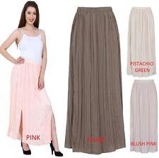 Womens Long Chiffon Maxi Pleated Boho Skirt Ladies Side Splits Plus Sizes 6 - 24