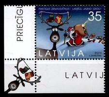 Weihnachten. Weihnachtsmann, Rentier. 1W. Eckrand(3). Lettland 2011