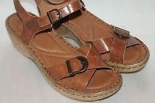 NEW! JOSEF SIEBEL Camel Brown Leather KIRA Comfort Cork Wedge Heels Sz EU40