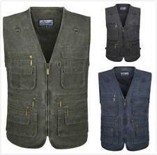 Vest Outdoor Mens Military Army Multi Pocket Denim Waistcoat Gilet Jacket Hiking