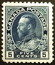 Canada #111a 5c Indigo 1914 King George V VF Unused Lightly Hinged Rare CV $400+