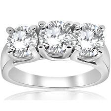 3ct Three Stone Diamond Wedding Anniversary Ring 14K White Gold Enhanced