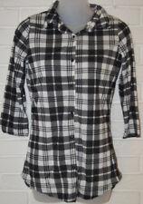 Women's Rue 21 Black & White Plaid 3/4 Sleeve Ltwt. Button Front Blouse Top XS