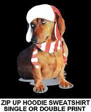 Cute Lovable Christmas Holiday Hat Dachshund Funny Dog Zip Hoodie Sweatshirt 703