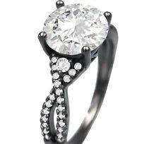 Womens Gothic Ring Wedding Band CZ Fashion Jewelry Black Zirconia Ladies Ring