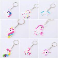 Multi Style Cute Unicorn Key Chain Ring Girls 1 Sided Free Ship New Christmas