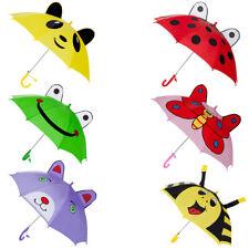 Kids Children Cute 3D Animal Ears Sun Rain Anti-UV Windproof Umbrella W/Whistle