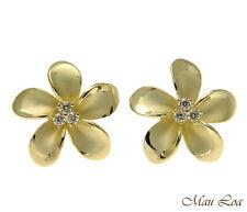 PLATA DE LEY 925 Oro Amarillo HAWÁI Plumeria flor 3 de presión con circonita