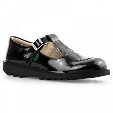Kickers T Bar Aztec Black Patent Junior/Girls Shoes 112533