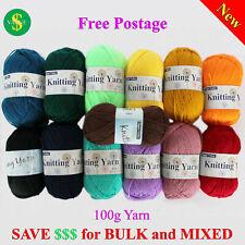 8Ply Knitting Yarn Acrylic 100g 190m Crochet Ball Bulk Wholesale Colours