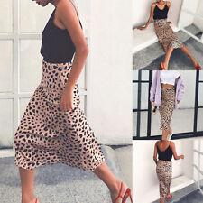 Women Sexy Satin Leopard Midi Skirt Bias Cut Slip Slim High Waist A-line Dress