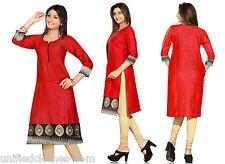 Indian Pakistani Long Cotton Kurti Embroidery Dress Kurta Tunic for Women 0347