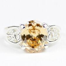 CHAMPAGNE CZ Sterling Silver Ladies Ring - Handmade • SR369