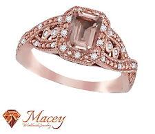 10 Quilates Oro Rosa Bonito Morganita Diamante Corte Esmeralda Fascinante Anillo