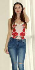 Rose Applique Mesh Bodysuit M L by Top Chic 22866