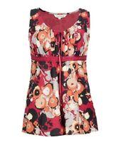 Los nómadas Rojo Algodón Verano Floral Top Sin Mangas túnica de comercio justo va42