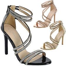 New Women Open Toe Rhinestone Dress Sandal Pump Stiletto Heel Triple Ankle Strap