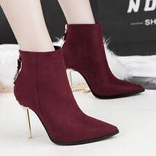 stivali stivaletti bassi stiletto 11 cm caviglia rosso eleganti simil pelle 9545