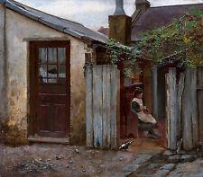 Frederick McCubbin - Girl with bird at the King Street bakery, Art Canvas Print
