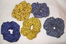 1 x Handmade Navy & Yellow 100% Cotton Hair Scrunchy Scrunchie Band Accessories