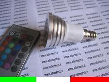 E14 LAMPADINA FARETTO SPOT RGB CAMBIACOLORE 220V 3W + telecomando