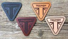 Leather sew on Triumph (motorcycle jacket badge) triangular