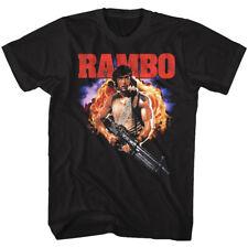Rambo First Blood John Rambo con Metralleta a Todo Color Adulto Camiseta