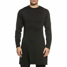 Men's Long Sleeve Soft  Long Hem Pullover T-Shirt Summer Side High  Slit Tops