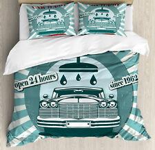 Retro Duvet Cover Set with Pillow Shams Car Wash Sign Commercial Print
