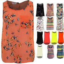Ladies Sleeveless Aztec Floral Butterfly Bird Print Women's Chiffon Vest Top