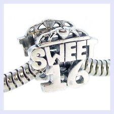 Sterling Silver Sweet 16 Sixteenth Birthday Love Bead f/ European Charm Bracelet