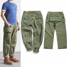 Men's Vintage Army green slacks Trousers Loose US Retro Casual Pants Work Pants