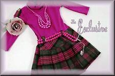Langarm-Kleid,dkl.pink-schwarz-grau ,Gr.98/104 u. 110/116,mit Glitzer + Kette