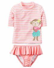Carter's Baby 2-PC Monkey Rashguard Tankini Swimsuit Set UPF 50+ 12M 18M 2T NWT