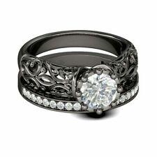 2.50 ct VVS1/D Diamond Vintage Sterling Silver Bridal Set !!