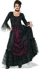 Victorian Gothic Countess Of Transylvania 2 Pc Blk & Burg Satin & Lace Dress