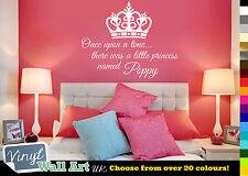 Érase una vez hubo un poco de Princesa-Nombre Vinilo etiquetas de pared + Corona