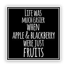 2 x Apple and Blackberry Funny Vinyl Stickers #7557