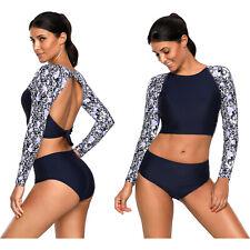 Surf rashguard protection swimming raglan sleeve swimsuit summer women swimwear