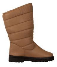 Bottes Fourrées Chaussures Hiver Femme Boots Bottines Crantées Neige Pluie Beige