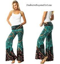 Boho Gypsy Mint Green Wide Bell Leg Hippie Yoga Tall Fleece Palazzo Pants S M L