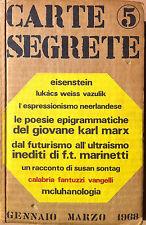 CARTE SEGRETE. RIVISTA DI LETTERE E ARTI. SERAFINI 1968/5 - INEDITI DI MARINETTI