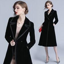 Women Retro Slim Business Black Velvet Trench Coat Long Parka Party Overcoat