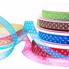 3/8'' POLKA DOT ORGANZA Ribbon Spotty Print 10Metres Sale 10mm