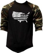 Men's American Map Us Flag Camo 3/4 Sleeve Baseball Raglan T Shirt Army Usa
