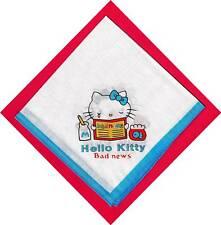 Old Hello Kitty Blue Trim Cotton Handkerchief 4 Images