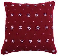 coton décor floral coussin throw couvrir taie d'oreiller carré rouge foncé