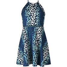 Girls' Lots of Love by Speechless Aqua Navy Cheetah A Line Dress - 8, 12, 14, 16